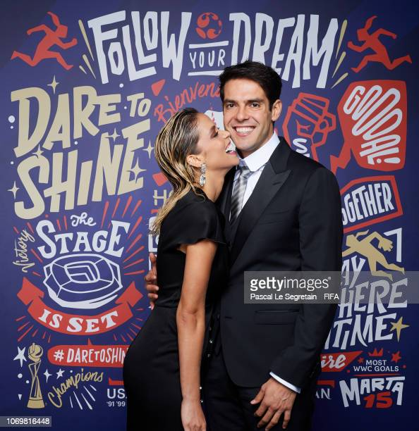 FIFA legend Kaka poses for a portrait with Carolina Dias during the FIFA Women's World Cup France 2019 Draw at La Seine Musicale on December 8 2018...