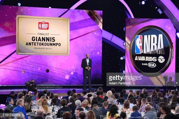 Legend Kareem AbdulJabbar makes an announcment honoring Giannis Antetokounmpo of the Milwaukee Bucks during the 2019 NBA Awards Show on June 24 2019...