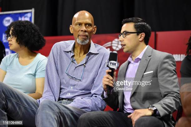 Legend Kareem AbdulJabbar speaks with Fox Sports Announcer Noah Eagle during the Girls Jr NBA Global Championship on August 11 2019 at the ESPN Wide...