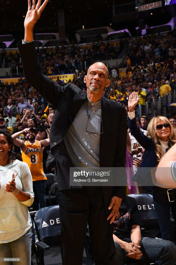 Legend, Kareem Adbul-Jabbar is seen at the game between the Los Angeles Lakers and the New Orleans Pelicans on April 11, 2017 at STAPLES Center in Los Angeles, California.