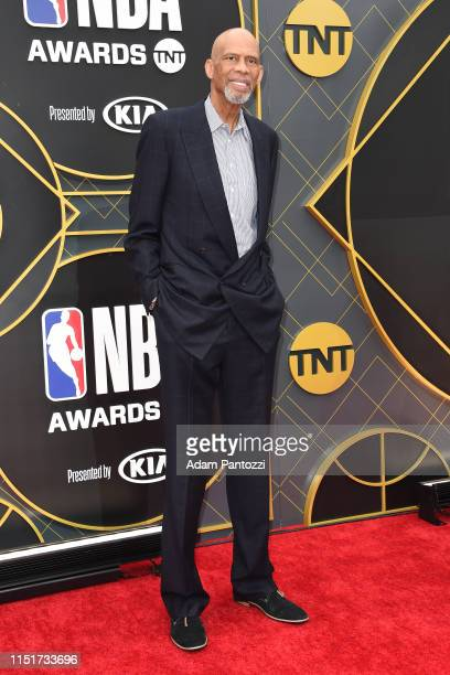 Legend Karrem AbdulJabbar poses for a photograph on the red carpet before the 2019 NBA Awards Show on June 24 2019 at Barker Hangar in Santa Monica...