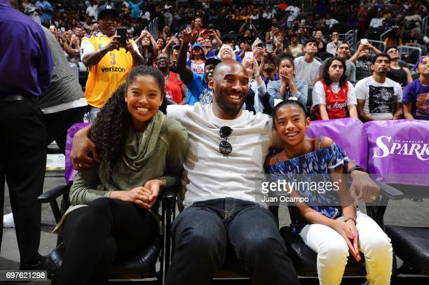 Legend Kobe Bryant attends a WNBA game between the Phoenix Mercury and the Los Angeles Sparks with his daughters on June 18 2017 at STAPLES Center in...