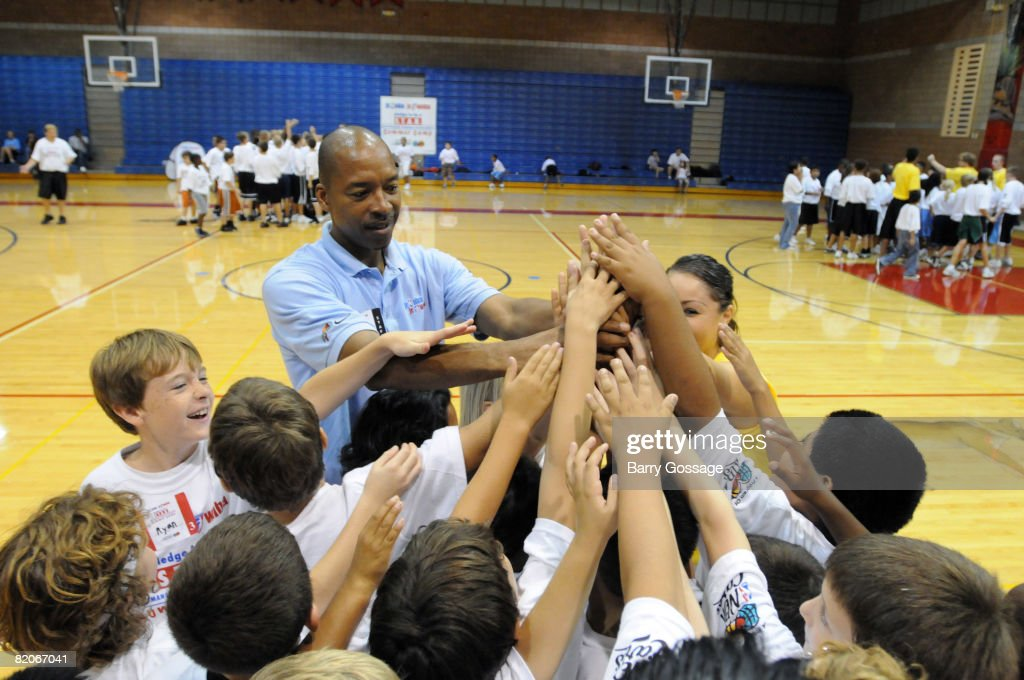 Legend Lafayette 'Fat' Lever participates in the Jr. NBA/Jr. WNBA basketball camp on July 24, 2008 at the Centennial High School campus in Peoria, Arizona.
