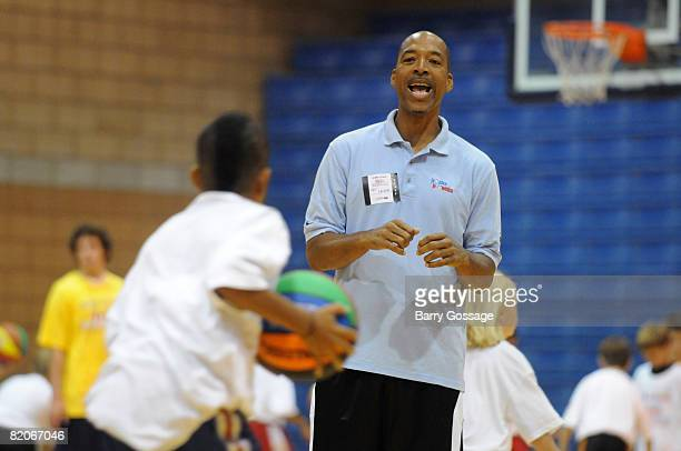 Legend Lafayette Fat Lever participates in the Jr NBA/Jr WNBA basketball camp on July 24 2008 at the Centennial High School campus in Peoria Arizona...