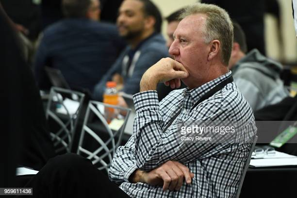 NBA legend Larry Bird attends Day One of the NBA Draft Combine at Quest MultiSport Complex on May 17 2018 in Chicago Illinois NOTE TO USER User...
