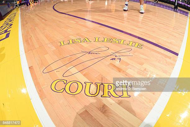 WNBA legend Lisa Leslie signature on the court at Staples Center on July 6 2016 in Los Angeles California NOTE TO USER User expressly acknowledges...
