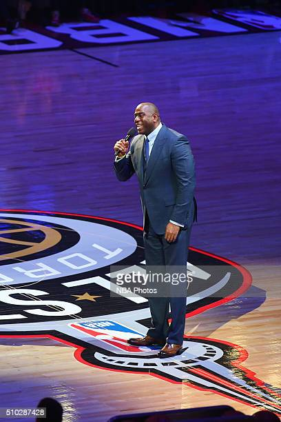 Legend Magic Johnson addresses the crowd during the NBA AllStar Game as part of the 2016 NBA AllStar Weekend on February 14 2016 at Air Canada Centre...