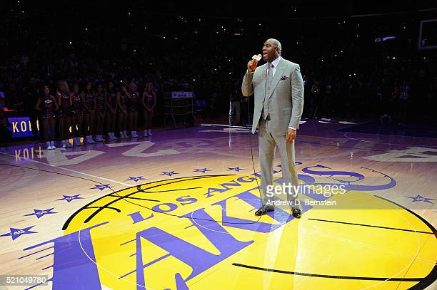 Legend Magic Johnson announces Kobe Bryant of the Los Angeles Lakers before his last game against the Utah Jazz on April 13 2016 at Staples Center in...