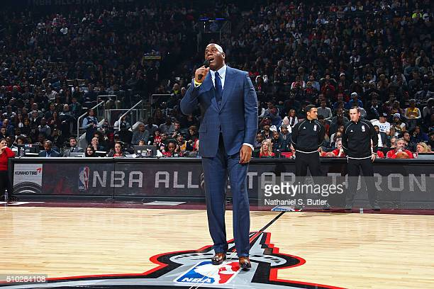 Legend Magic JOhnson speaks to the crowd before the NBA AllStar Game as part of 2016 NBA AllStar Weekend on February 14 2016 at the Air Canada Centre...