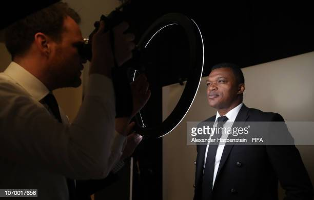 FIFA legend Marcel Desailly poses for a photo during the FIFA Women's World Cup France 2019 Draw at La Seine Musicale on December 8 2018 in Paris...