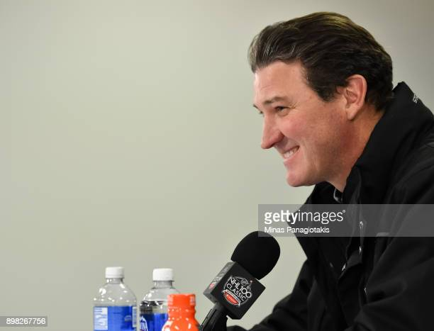 NHL legend Mario Lemieux talks to the media during the 2017 Scotiabank NHL100 Classic at Lansdowne Park on December 16 2017 in Ottawa Canada