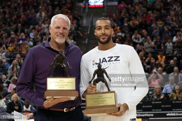 Legend Mark Eaton presents Rudy Gobert of the Utah Jazz 201819 KIA NBA Defensive Player of the Year during the meet the team event at vivintSmartHome...