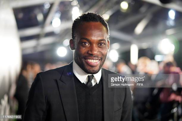 Legend Michael Essien of Ghana arrives on the green carpet ahead of The Best FIFA Football Awards 2019 at Teatro alla Scala on September 23, 2019 in...