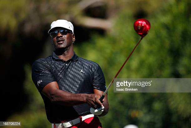 Legend Michael Jordan hits a tee shot during ARIA Resort & Casino's 12th annual Michael Jordan Celebrity Invitational golf tournament at Shadow Creek...