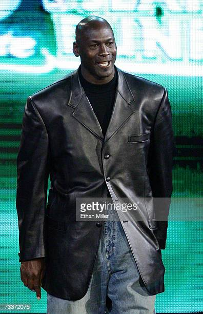 NBA legend Michael Jordan is introduced as a judge before the Sprite Slam Dunk Competition during NBA AllStar Weekend at the Thomas Mack Center...