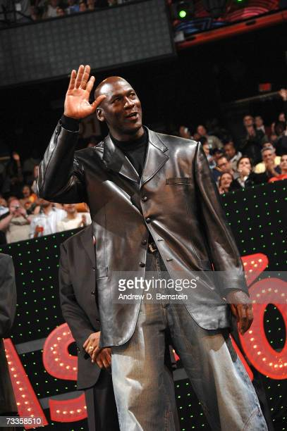 Legend Michael Jordan is introduced before the start of the Sprite Slam Dunk Competition at NBA All-Star Weekend at the Thomas & Mack Center February...