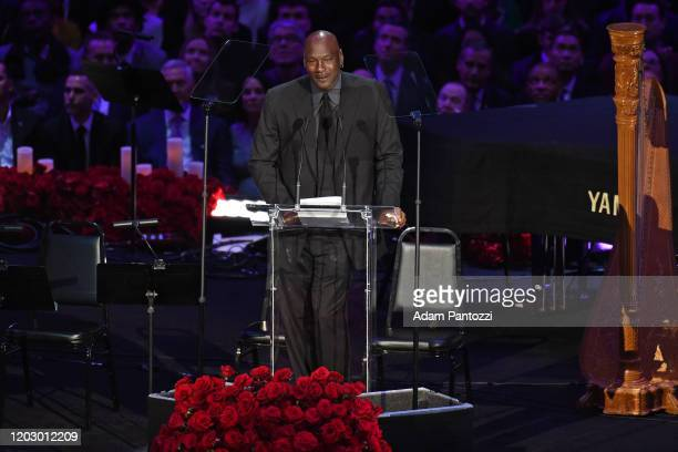 Legend Michael Jordan speaks to the crowd during the Kobe Bryant Memorial Service on February 24 2020 at STAPLES Center in Los Angeles California...