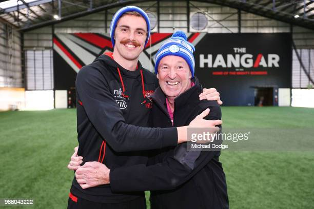 Legend Neale Daniher and Joe Daniher of the Bombers pose during an Essendon Bombers AFL media opportunity at The Hangar on June 6 2018 in Melbourne...