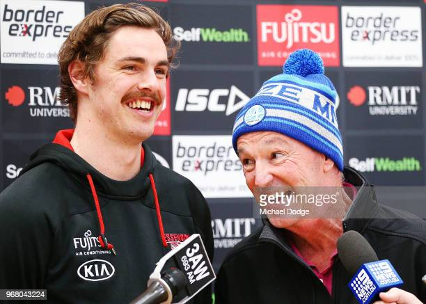 Legend Neale Daniher and Joe Daniher of the Bombers speaks to media during an Essendon Bombers AFL media opportunity at The Hangar on June 6 2018 in...