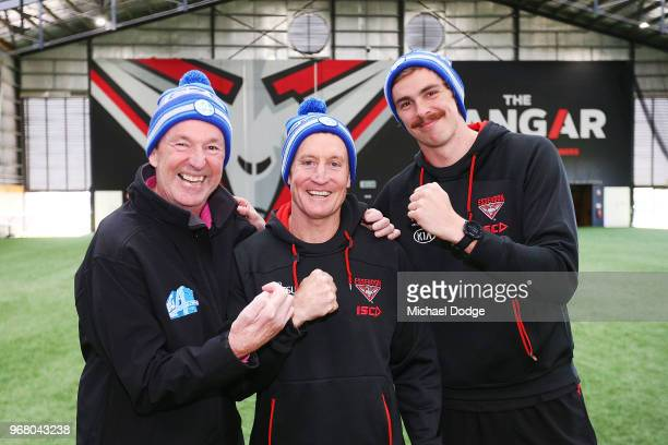 Legend Neale Daniher Bombers head coach John Worsfold and Joe Daniher of the Bombers pose during an Essendon Bombers AFL media opportunity at The...
