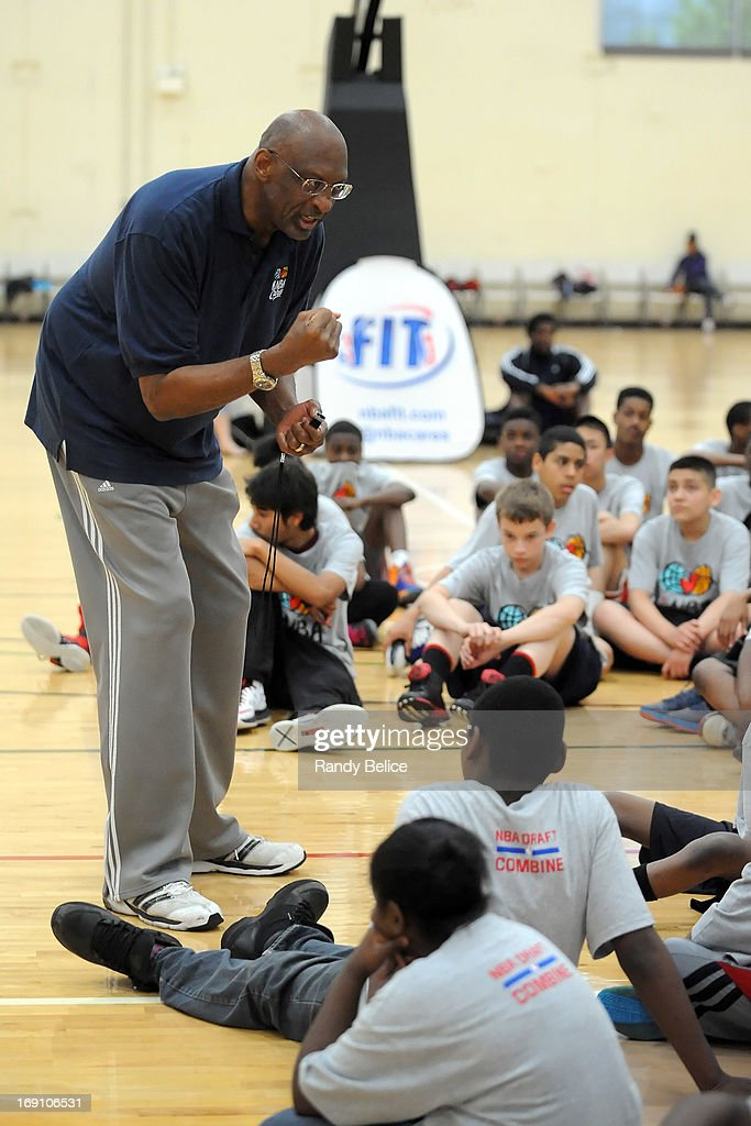 Legend of the Game Bob Lanier talks to participants of a NBA Cares Basketball Clinic as part of the 2013 NBA Draft Combine on May 18, 2013 at Quest Multiplex in Chicago, Illinois.