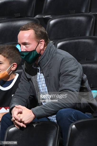 Legend, Peyton Manning attends a game between the Denver Nuggets and the Detroit Pistons on April 6, 2021 at the Ball Arena in Denver, Colorado. NOTE...