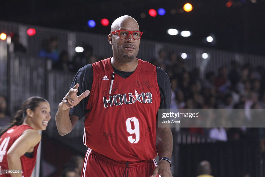 Legend Ron Harper of the West All-Stars reacts to a play against the East All-Stars during the NBA Cares Special Olympics Unified Sports Basketball Game on Center Court at Jam Session during the NBA All-Star Weekend on February 17, 2013 at the George R. Brown Convention Center in Houston, Texas.