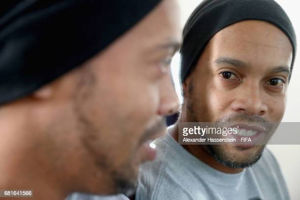 Legend Ronaldinho of Brazil poses after a interview at The Diplomat Radisson BLU Hotel on May 9 2017 in Manama Bahrain