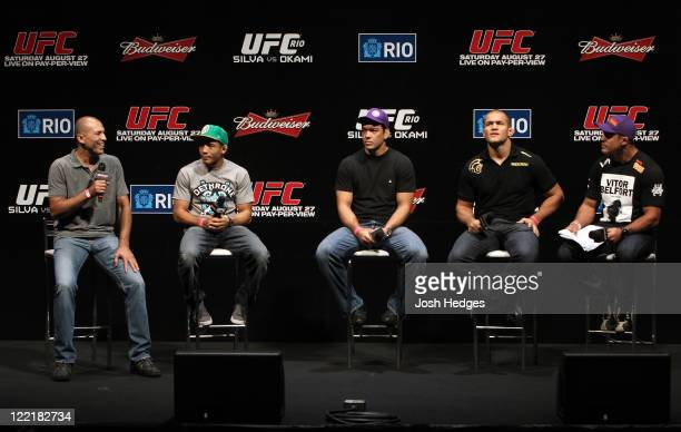 UFC legend Royce Gracie and UFC fighters Jose Aldo Lyoto Machida Junior dos Santos and Vitor Belfort attend a special QA session before the UFC 134...