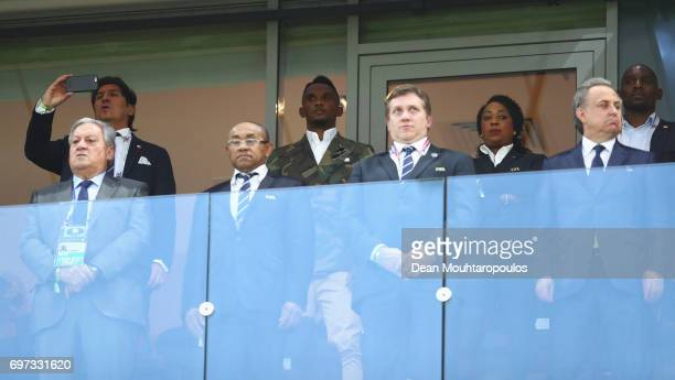 Legend Samuel Eto'o and Ivan Zamorano are seen in the stand prior to the FIFA Confederations Cup Russia 2017 Group B match between Cameroon and Chile...