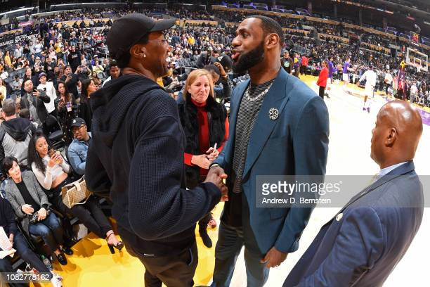 Legend Scottie Pippen and LeBron James of the Los Angeles Lakers talk before the game against the Cleveland Cavaliers on January 13 2019 at STAPLES...