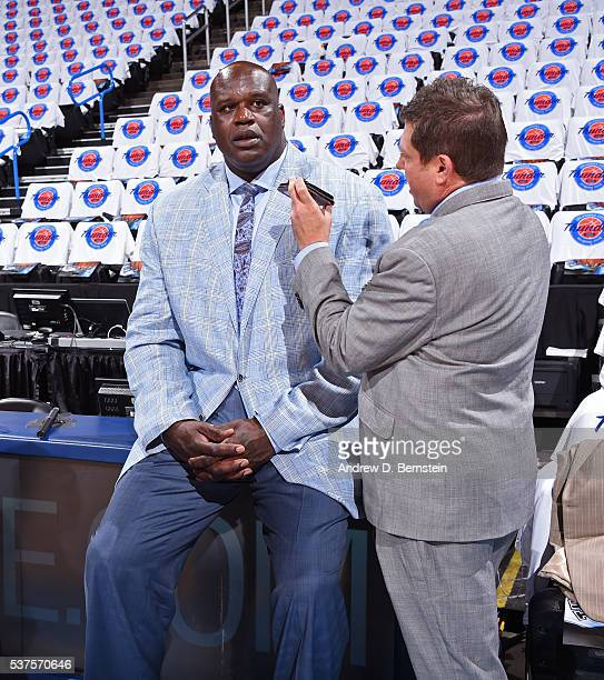 Legend Shaquille O'Neal is interviewed by ESPN NBA Analyst Marc Stein before Game Four of the Western Conference Finals between the Golden State...