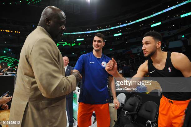 NBA Legend Shaquille O'Neal speaks with Dario Saric and Ben Simmons of the World Team prior to the Mountain Dew Kickstart Rising Stars Game during...