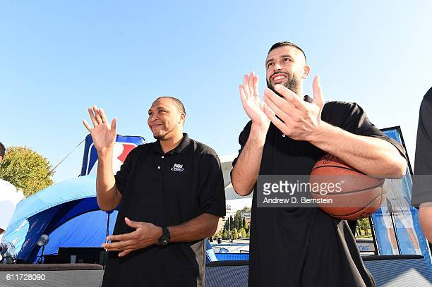 Legend Shawn Marion and Lorenzo Sanz of Real Madrid participate during the Special Olympics Unified Clinic as part of the 2016 Global Games on...