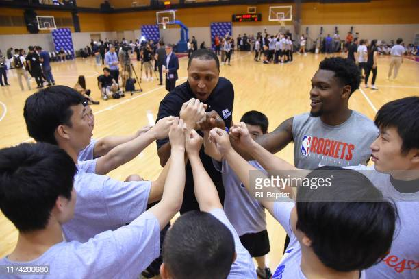 Legend Shawn Marion and Mike Frazier of the Houston Rockets participates during the NBA Cares Special Olympics Unified Clinic part of the 2019 NBA...