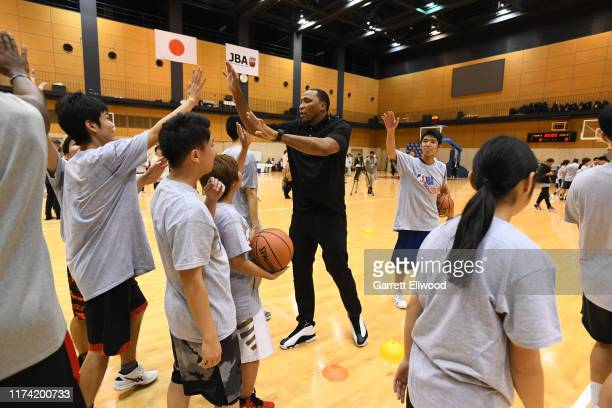 Legend Shawn Marion of the Houston Rockets participates during the NBA Cares Special Olympics Unified Clinic part of the 2019 NBA Japan Games at a...