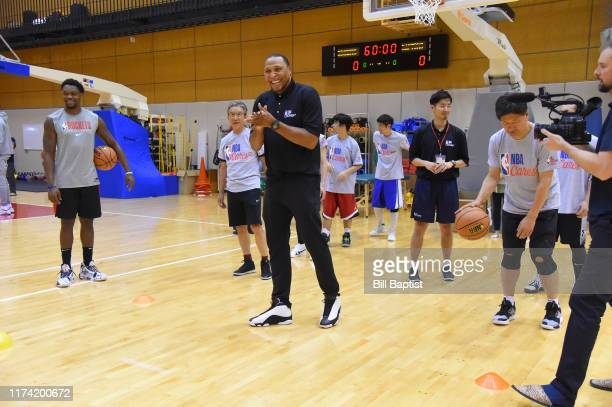 Legend Shawn Marion participates during the NBA Cares Special Olympics Unified Clinic part of the 2019 NBA Japan Games at a training facility on...