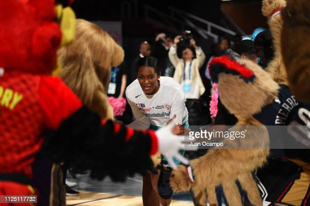 WNBA legend Swin Cash takes the court during the 2019 NBA All Star Unified Basketball Game on February 15 2019 at Bojangles Coliseum in Charlotte...
