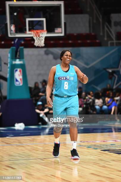 WNBA legend Taj McWilliams celebrates during the 2019 NBA All Star Unified Basketball Game on February 15 2019 at Bojangles Coliseum in Charlotte...