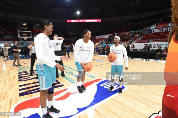 WNBA legend Taj McWilliams shoots during the 2019 NBA All Star Unified Basketball Game on February 15 2019 at Bojangles Coliseum in Charlotte North...