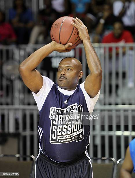 Legend Tim Hardaway shoots during the Legends Challenge on center court at Jam Session during the NBA AllStar Weekend on February 23 2012 at the...