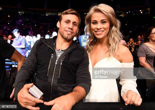 UFC legend Urijah Faber and strawweight contender Paige VanZant pose for a photo during the UFC Fight Night event at Bridgestone Arena on April 22...