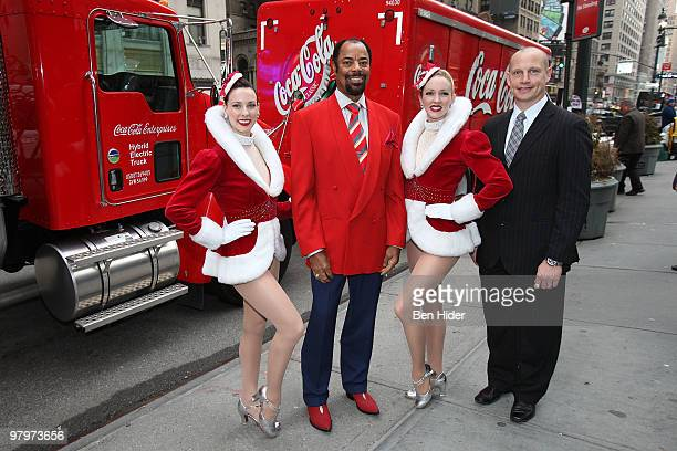 Legend Walt 'Clyde' Frazier Former New York Rangers hockey player Adam Graves and the Rockettes attend the MSG CocaCola 100 years of partnership...