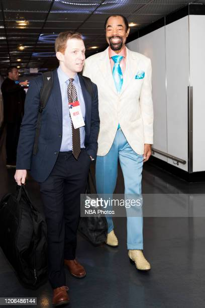 Legend Walt Frazier arrives for the game on March 10, 2020 at Capital One Arena in Washington, DC. NOTE TO USER: User expressly acknowledges and...