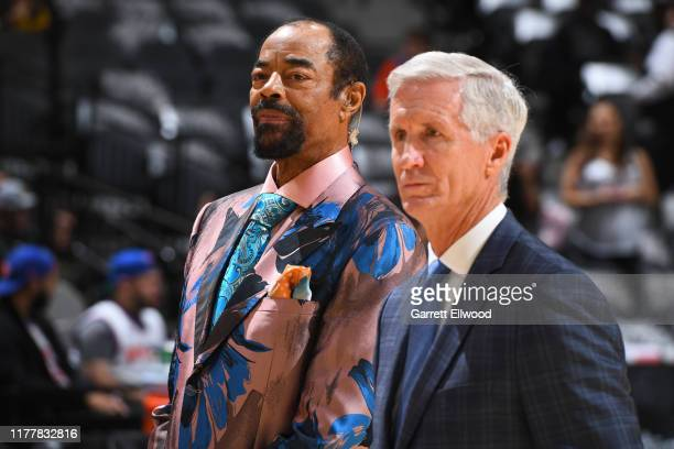 Legend, Walt Frazier looks on before the game between the New York Knicks and the San Antonio Spurs on October 23, 2019 at the AT&T Center in San...