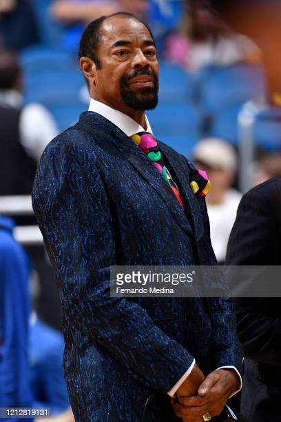Legend Walt Frazier looks on before the game on October 30, 2019 at Amway Center in Orlando, Florida. NOTE TO USER: User expressly acknowledges and...