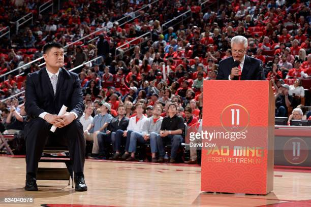 Legend Yao Ming sits on the court during his jersey retirement ceremony during the Chicago Bulls game against the Houston Rockets on February 3 2017...
