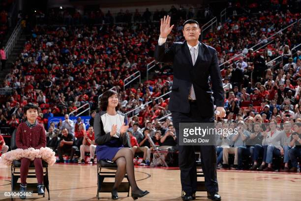 Legend Yao Ming waves to the crowd during his jersey retirement ceremony during the Chicago Bulls game against the Houston Rockets on February 3 2017...