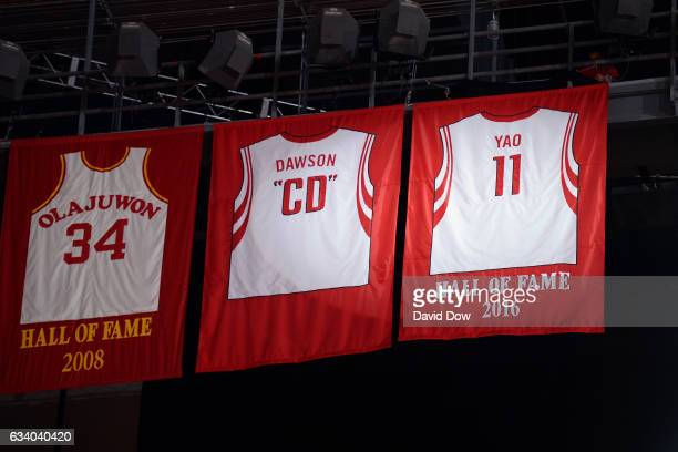 Legend Yao Ming's jersey is hung during his ceremony during the Chicago Bulls game against the Houston Rockets on February 3 2017 at the Toyota...