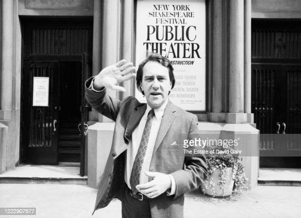 Legendary American theater producer and director Joseph Papp poses for a portrait on May 14, 1968 outside The Public Theater in the Astor Library...
